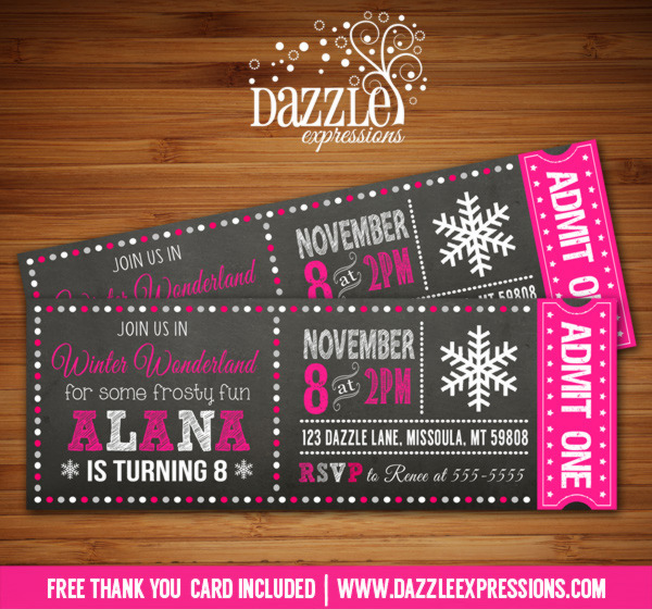 Winter Wonderland Chalkboard Ticket Birthday Invitation 2 - FREE thank you card included