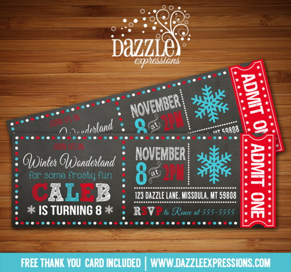 Winter Wonderland Chalkboard Ticket Birthday Invitation 3 - FREE thank you card included