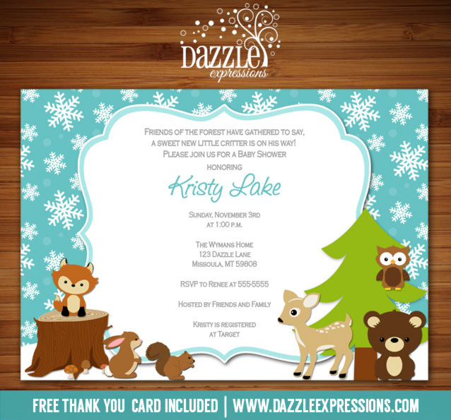 Winter Woodland Baby Shower Invitation - FREE thank you card included