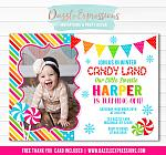 Winter Candy Land Birthday Invitation - FREE thank you card