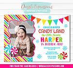 Winter Candy Land Birthday Invitation - FREE thank you card