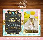 Winter Glitter Invitation 1 - FREE thank you card included