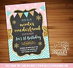 Winter Glitter Invitation 2 - FREE thank you card included