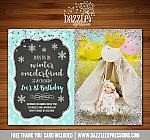 Winter Glitter Invitation 3 - FREE thank you card included