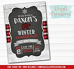Winter Plaid Bear Invitation 3 - FREE thank you card included