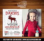 Winter Plaid Moose Invitation 1 - FREE thank you card included