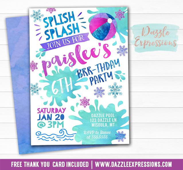 Pool Party Watercolor Winter Invitation