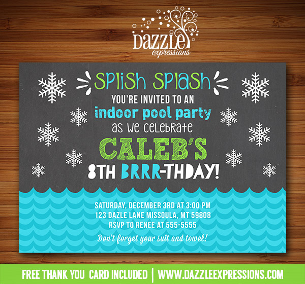 printable winter indoor pool party chalkboard birthday invitation