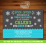 Winter Indoor Pool Party Chalkboard Invitation 2 - FREE thank you card included