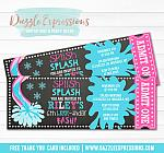 Winter Pool Party Chalkboard Ticket Invitation 3 - FREE thank you card included