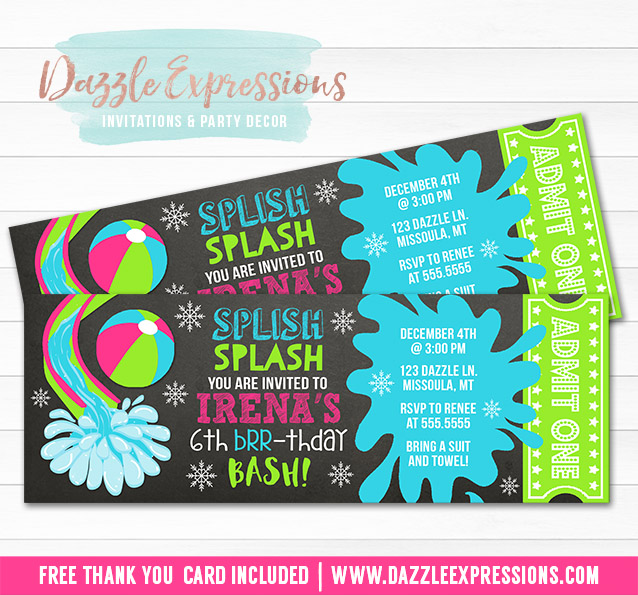 Winter Pool Party Chalkboard Ticket Invitation 4 - FREE thank you card included