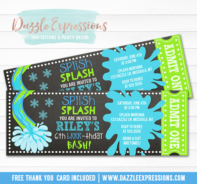 Winter Pool Party Chalkboard Ticket Invitation 5 - FREE thank you card included