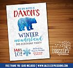 Winter Bear Invitation 1 - FREE thank you card included