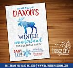 Winter Moose Invitation 2 - FREE thank you card