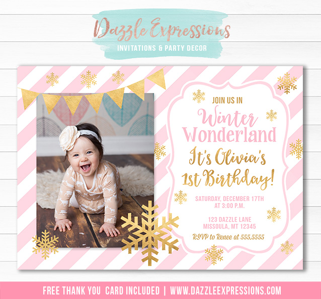Printable Pink And Gold Winter Snowflake Birthday Invitation Girls