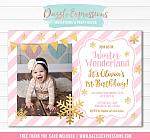 Winter Wonderland Birthday Invitation 1 - FREE thank you card included