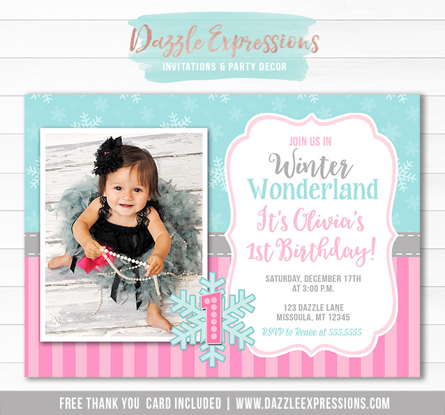 Printable Pink and Blue Winter Snowflake Birthday Invitation – Snowflake Birthday Invitations