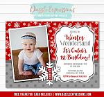 Winter Wonderland Birthday Invitation 4 - FREE thank you card included