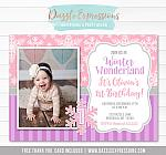 Winter Wonderland Birthday Invitation 6 - FREE thank you card included