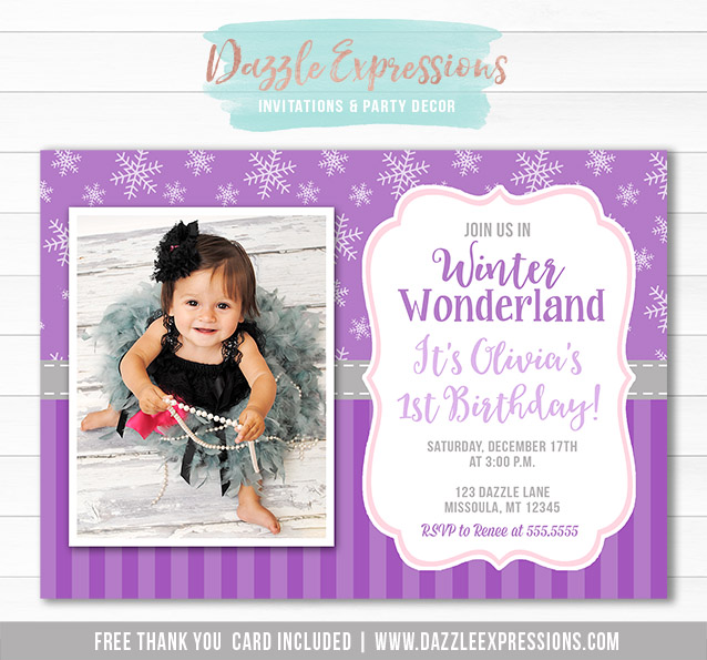 Printable Winter Snowflake Birthday Invitation Purple ONEderland – Snowflake Birthday Invitations
