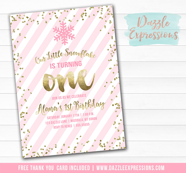 Pink and Gold Snowflake Invitation 2 - FREE thank you card included
