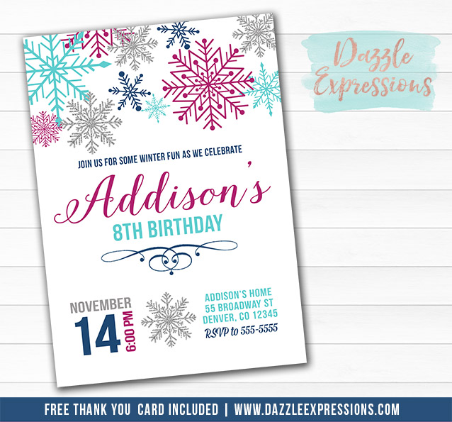 printable watercolor snowflake birthday invitation girls winter