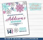 Snowflake Watercolor Invitation 1 - FREE thank you card