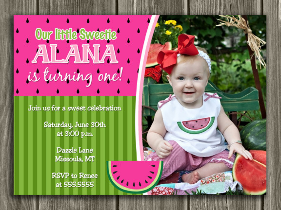 Watermelon Invitation 3 - Thank you card included