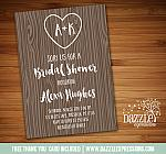 Wood Grain Bridal Shower Invitation - FREE thank you card included