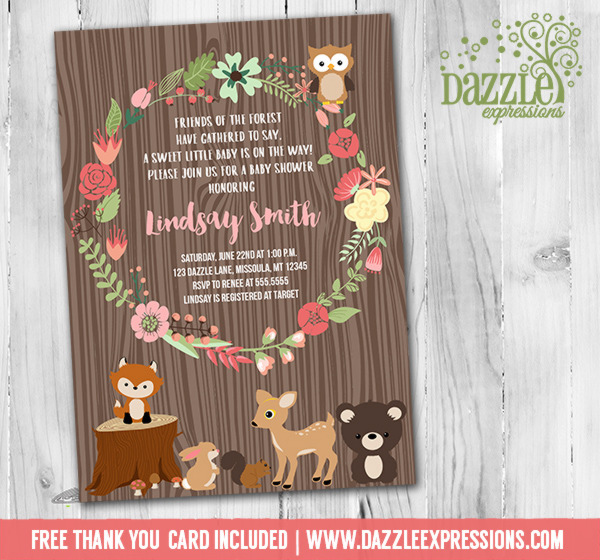 Floral Wreath Woodland Baby Shower Invitation - FREE thank you card included