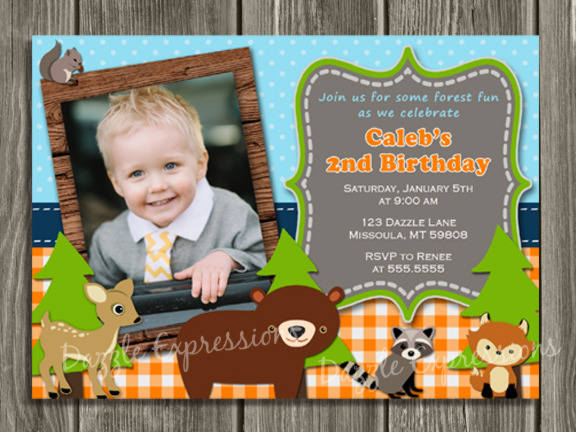 Woodland Birthday Invitation 2 - Thank You Card Included