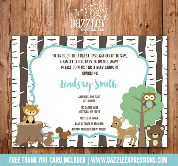 Woodland Baby Shower Invitation - Birch Trees - FREE thank you card included