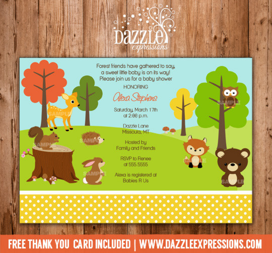 Woodland Baby Shower Invitation 2 - FREE thank you card included