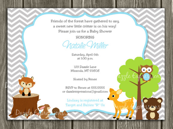 Woodland Invitation with Chevron Thank You Card Included