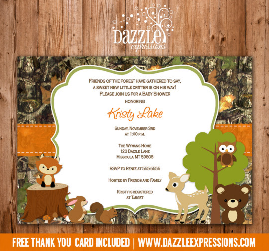 Printable Wooodland Animal Camo Baby Shower Invitation Thank You Card