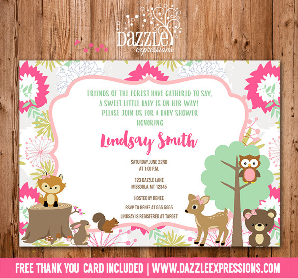 Woodland Girl Baby Shower Invitation 2 - FREE thank you card included