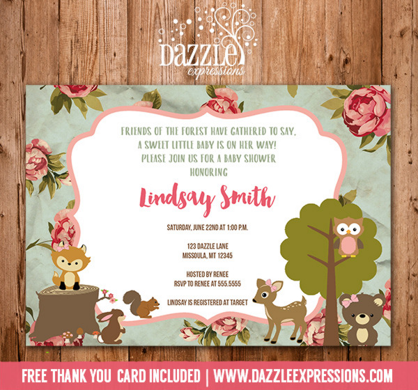 Woodland Girl Baby Shower Invitation 3 - FREE thank you card included