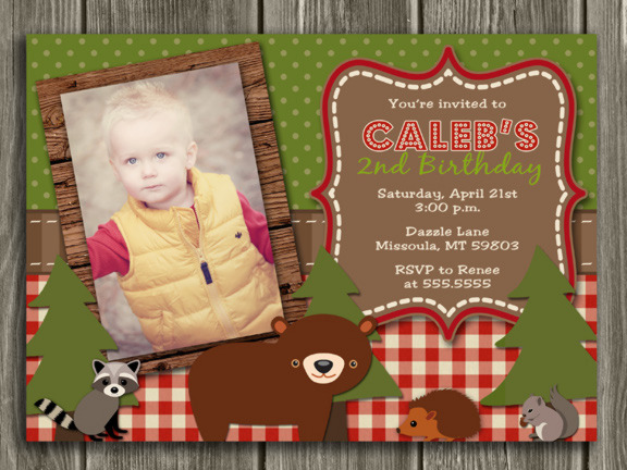 Woodland Birthday Invitation 1 - Thank You Card Included