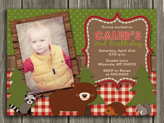 Woodland Birthday Invitation 1 - Thank You Card Included