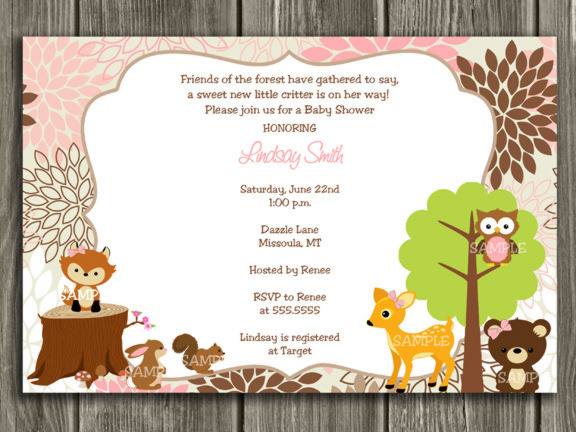 Printable Pink and Brown Woodland Baby Shower Invitation ...