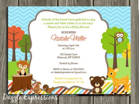 Printable woodland baby shower invitation thank you card woodland baby shower invitation free thank you card included filmwisefo