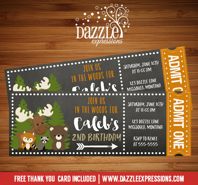 Woodland Chalkboard Ticket Invitation - FREE thank you card included