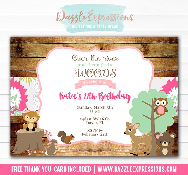 printable woodland girl birthday invitation forest animals