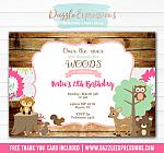 Woodland Girl Birthday Invitation 1 - FREE thank you card included
