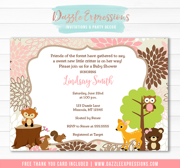 Woodland Girl Baby Shower Invitation 1 - FREE Thank You Card