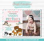 Woodland Birthday Invitation 4 - FREE thank you card included