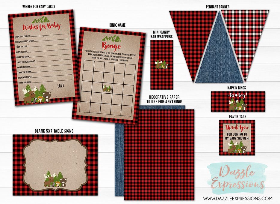 Plaid Woodland Baby Shower Party Package