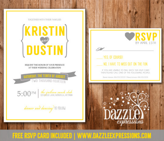 modern yellow and gray wedding invitation 1 rsvp card included