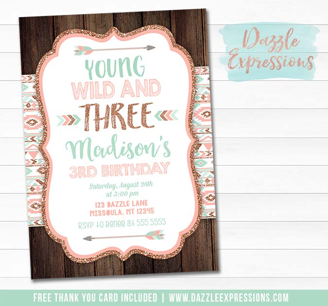 Young Wild and Three Invitation 2 - FREE thank you card