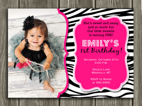 Zebra Birthday Invitation - Thank You Card Included